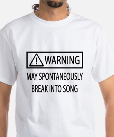 Spontaneous Singer BW White T-Shirt