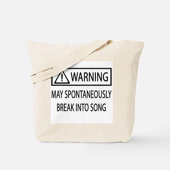 Spontaneous Singer BW Tote Bag