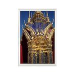 Azure Glass & Gold Rectangle Magnet