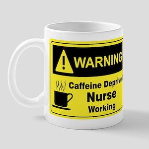"""""""Caffeine Warning Nurse"""" On Front of Mug"""