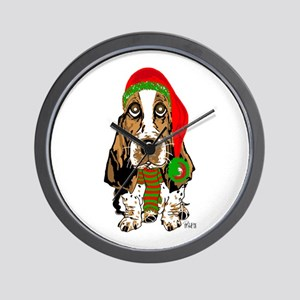 Christmas Basset Hound Wall Clock