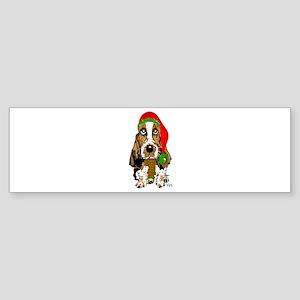Christmas Basset Hound Bumper Sticker