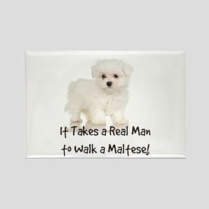 Real Men Walk Maltese Rectangle Magnet