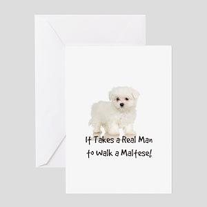 Real Men Walk Maltese Greeting Card