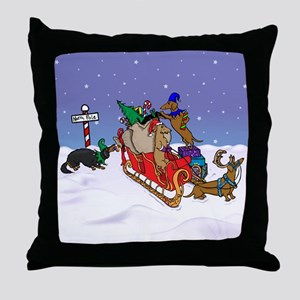 North Pole Dachshunds Throw Pillow