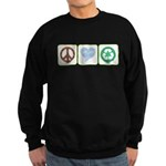 Peace, Love, Recycling Sweatshirt (dark)