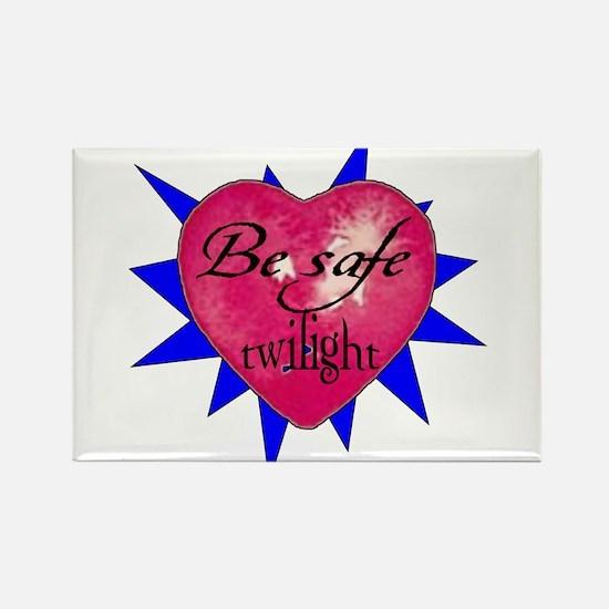 """Be safe"" Heart /blue Rectangle Magnet"