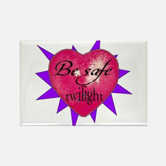 """Be safe"" Heart / purple Rectangle Magnet"