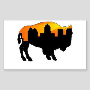 Sunny Day Skyline Rectangle Sticker