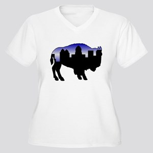 Snowy Day Skyline Women's Plus Size V-Neck T-Shirt