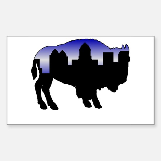 Snowy Day Skyline Rectangle Decal