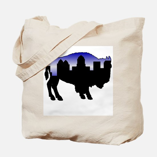 Snowy Day Skyline Tote Bag