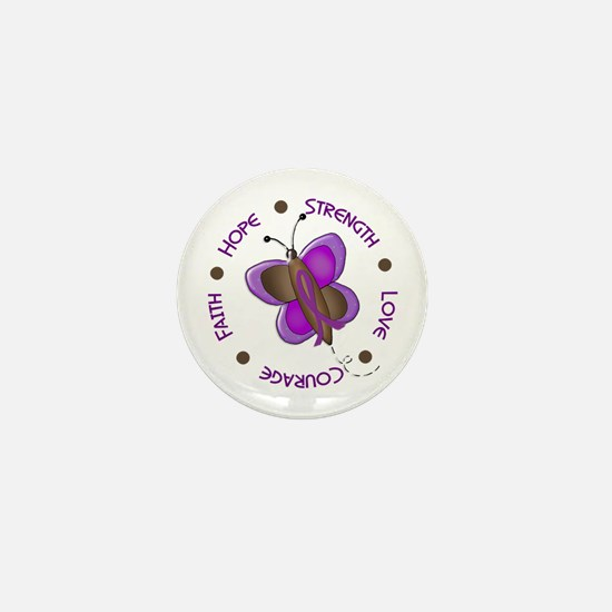 Hope Courage 1 Butterfly 2 PURPLE Mini Button
