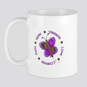 Hope Courage 1 Butterfly 2 PURPLE Mug