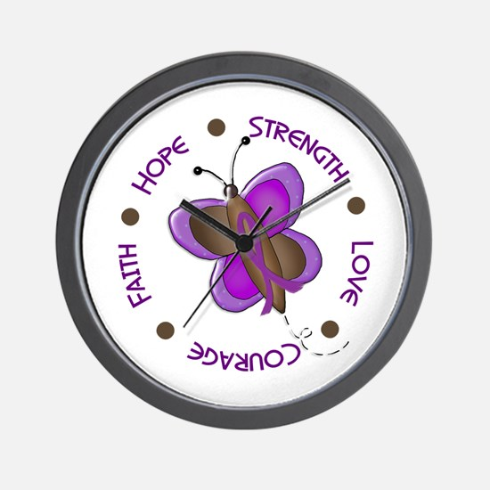 Hope Courage 1 Butterfly 2 PURPLE Wall Clock
