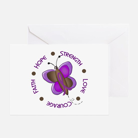 Hope Courage 1 Butterfly 2 PURPLE Greeting Card