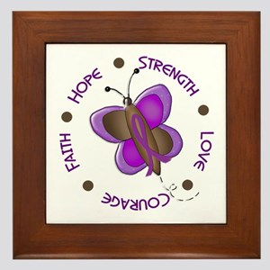 Hope Courage 1 Butterfly 2 PURPLE Framed Tile