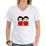 Double Happiness Women's V-Neck T-Shirt