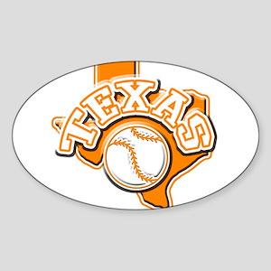 Texas Baseball Oval Sticker