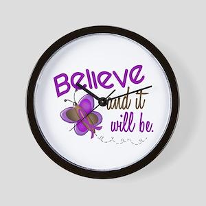 Believe 1 Butterfly 2 PURPLE Wall Clock