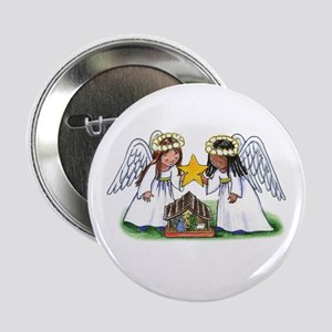 "Christmas Angel Nativity 2.25"" Button"