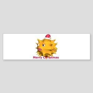 Christmas Puffer Fish Bumper Sticker