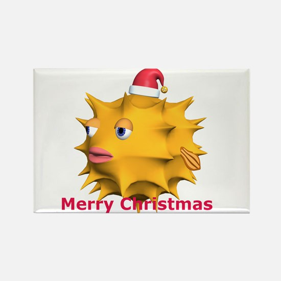 Christmas Puffer Fish Rectangle Magnet (10 pack)