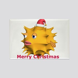 Christmas Puffer Fish Rectangle Magnet