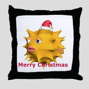 Christmas Puffer Fish Throw Pillow