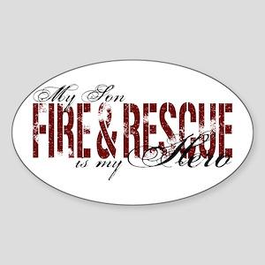 Son My Hero - Fire & Rescue Oval Sticker