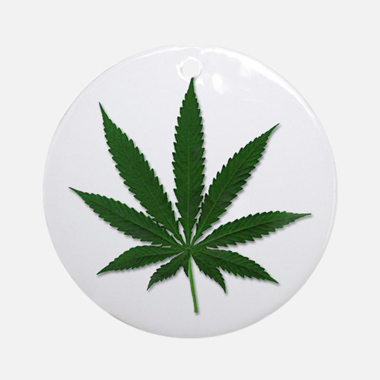 Marijuana Pot Leaf Ornament (Round)