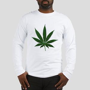 Marijuana Pot Leaf (Front) Long Sleeve T-Shirt