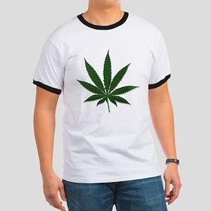 Marijuana Pot Leaf (Front) Ringer T