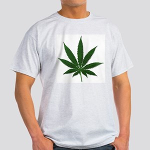 Marijuana Pot Leaf (Front) Ash Grey T-Shirt
