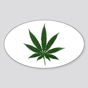 Marijuana Pot Leaf Oval Sticker