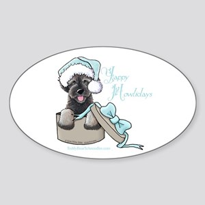 Schnoodle Howliday Oval Sticker