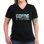 Drums Pride Women's V-Neck Dark T-Shirt