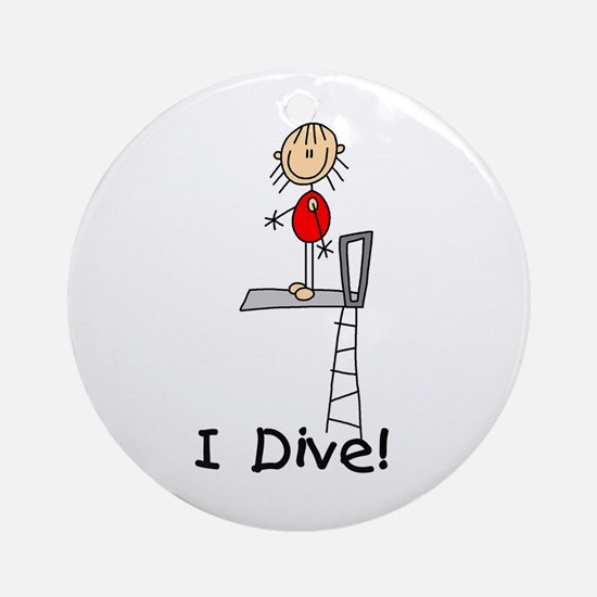 Girl I Dive Ornament (Round)