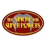 'Stache super powers. Oval Sticker