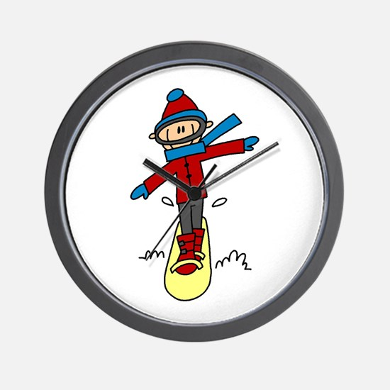 Winter Snowboarding Wall Clock
