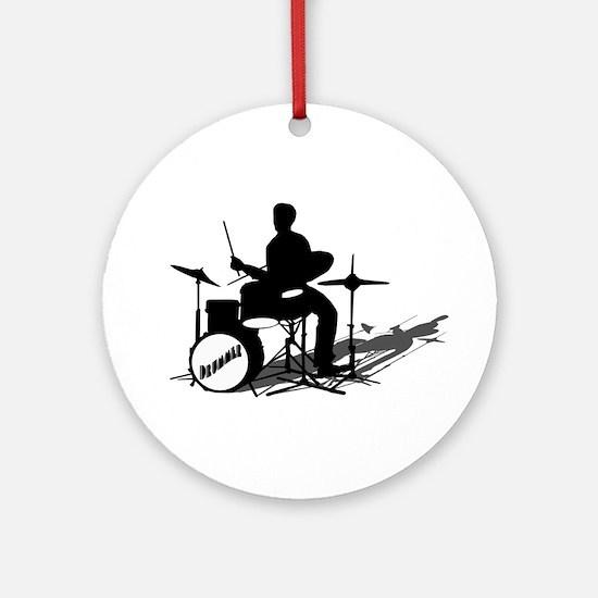 Drummer Drumming Ornament (Round)