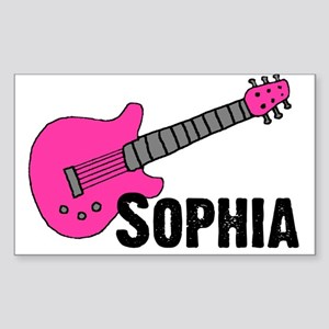 Sophia - Guitar - Pink Rectangle Sticker
