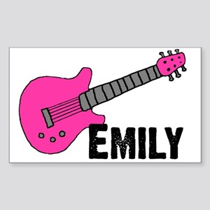 Guitar - Emily - Pink Rectangle Sticker