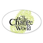 Paisley Green - Be the change Oval Sticker