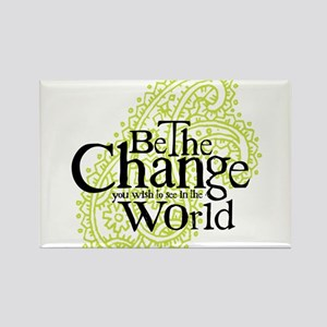 Paisley Green - Be the change Rectangle Magnet
