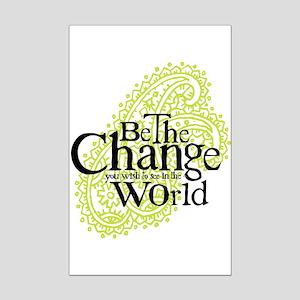 Paisley Green - Be the change Mini Poster Print