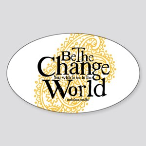 Paisley Peach - Be the change Oval Sticker