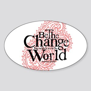 Paisley Pink - Be the change Oval Sticker