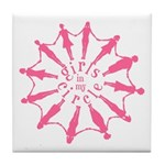 Happiness is a Circle of Friends Tile Coaster