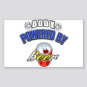 Body powered by beer Rectangle Sticker